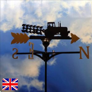 Tractor and plough weathervane gold
