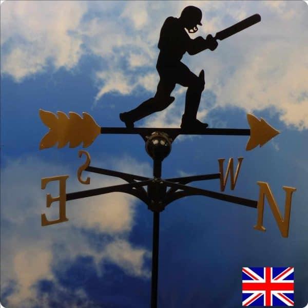 Cricketer Weathervane Gold