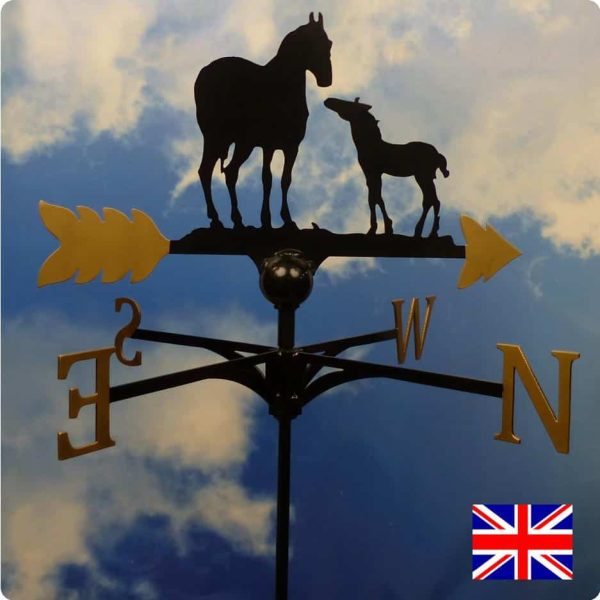 Horse and Foal Weathervane Gold
