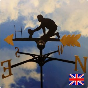 Rugby Player Weathervane Gold