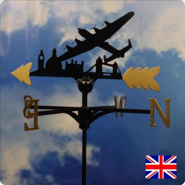 Lancaster over London Skyline Weathervane Gold