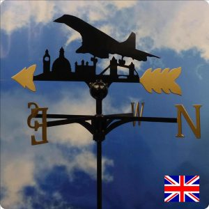 Concorde over London Skyline Weathervane Gold